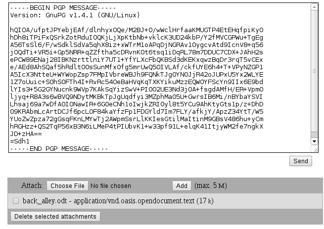The attachment, though it is not obvious, has also been encrypted but it keeps its original name and mime type.