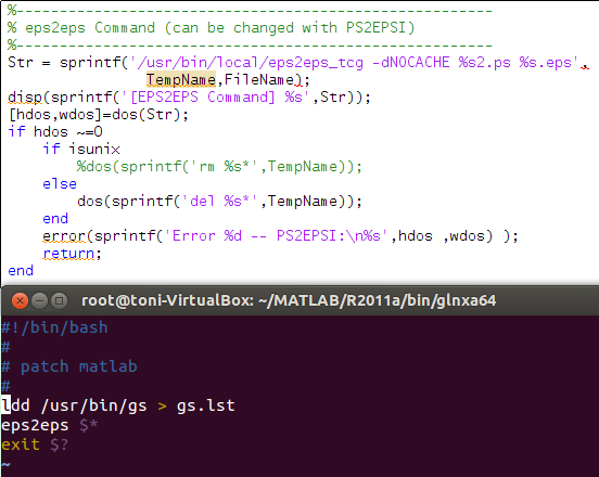 Running my own script from the plotepstex Matlab in order to determine which libraries were being used by the gs command.