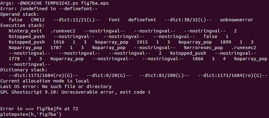 eps2eps crashing whilst being executed by the plotepstex matlab function.