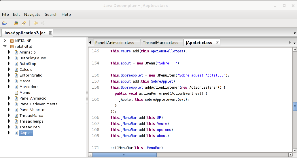 Decompiling an entire JAR file using the jd-gui tool.