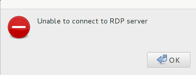 Unable to connect to the RDP server error message from a GNU/Linux user.
